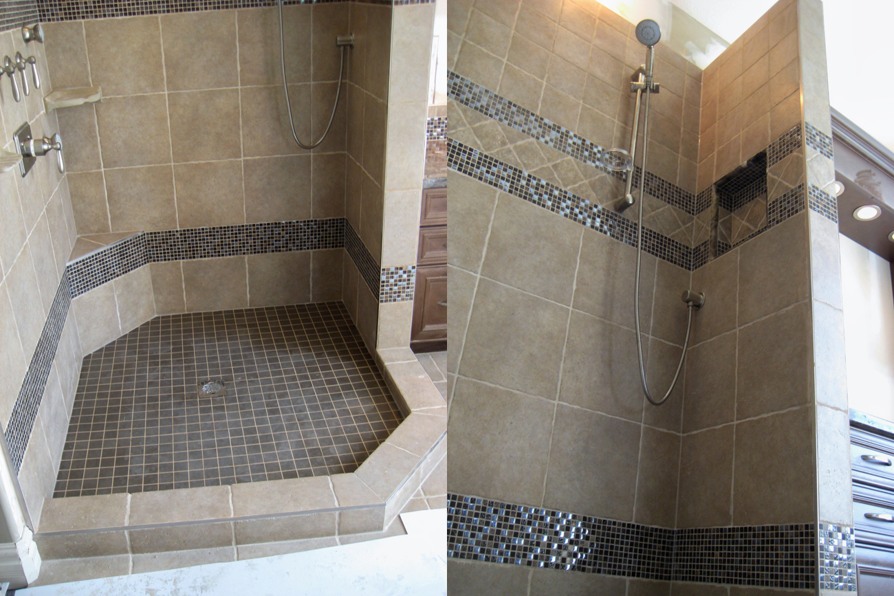 interesting gallery jordan s tile custom designed tile shower bathroom open with open shower concept